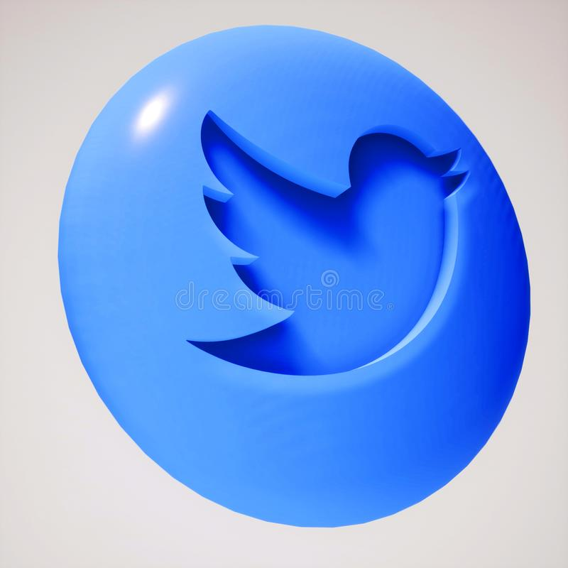 3D Twitter按钮象形状 库存例证