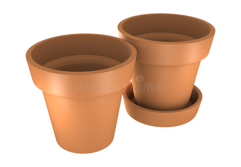 3D Two Orange Pot stock photos