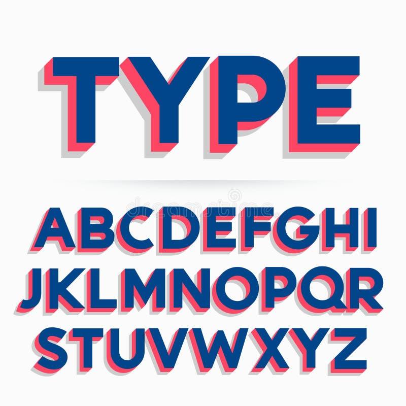 3d typeface font and alphabet design vector illustration