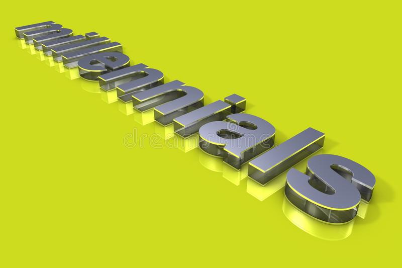 3D Typografie van het Millenialslconcept stock foto's