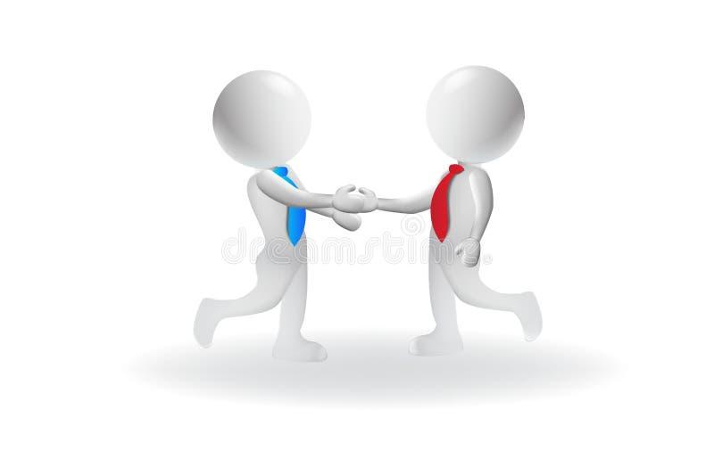 3D uścisku dłoni biznesowego logo wektorowego projekta mali ludzie ilustracji