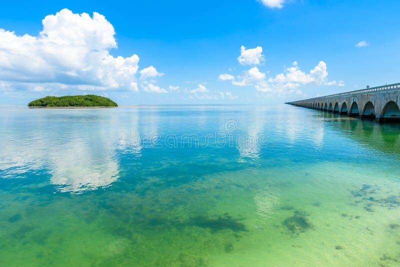 D?ugi most przy Floryda kluczem Historyczna Zamorska autostrada I 7 mil most dostawa? Key West -, Floryda, usa zdjęcie stock