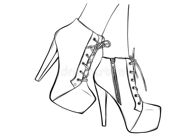 D?ugie nik?e nogi w ciasnych spodniach i heeled butach Moda, styl, odzie? i akcesoria, r?wnie? zwr?ci? corel ilustracji wektora ilustracji