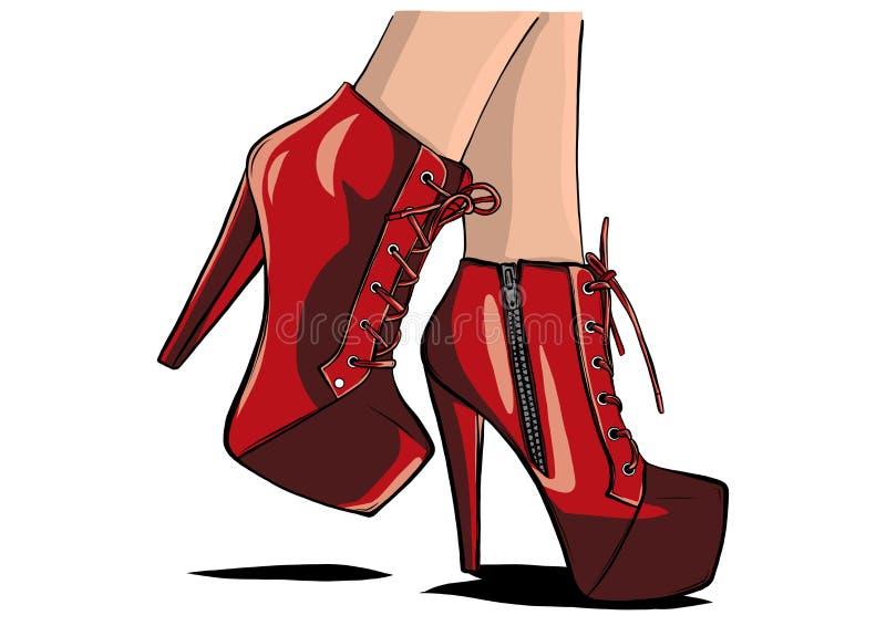 D?ugie nik?e nogi w ciasnych spodniach i heeled butach Moda, styl, odzie? i akcesoria, r?wnie? zwr?ci? corel ilustracji wektora royalty ilustracja