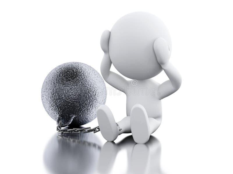 3D Ukarana przestępca wiążąca z żelazną piłką ilustracji
