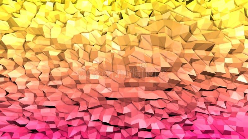 3d ukazują się jako 3d niski poli- abstrakcjonistyczny geometryczny tło z nowożytnymi gradientowymi kolorami, czerwona pomarańcze ilustracja wektor