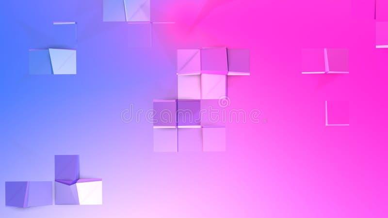 3d ukazują się jako 3d niski poli- abstrakcjonistyczny geometryczny tło z nowożytnymi gradientowymi kolorami, czerwony błękitny f royalty ilustracja