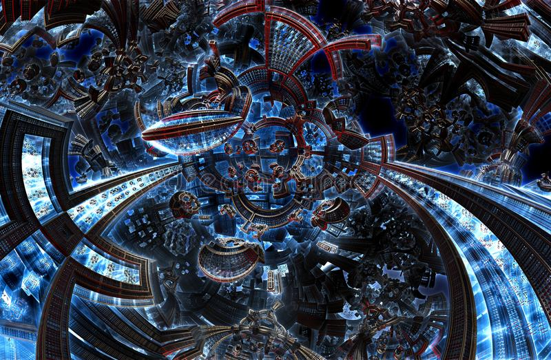 3d ultraviolet fractal of future city. Development civilization in galaxy. 3d ultraviolet fractal of future city. Development of civilization in galaxy spiral royalty free stock photos