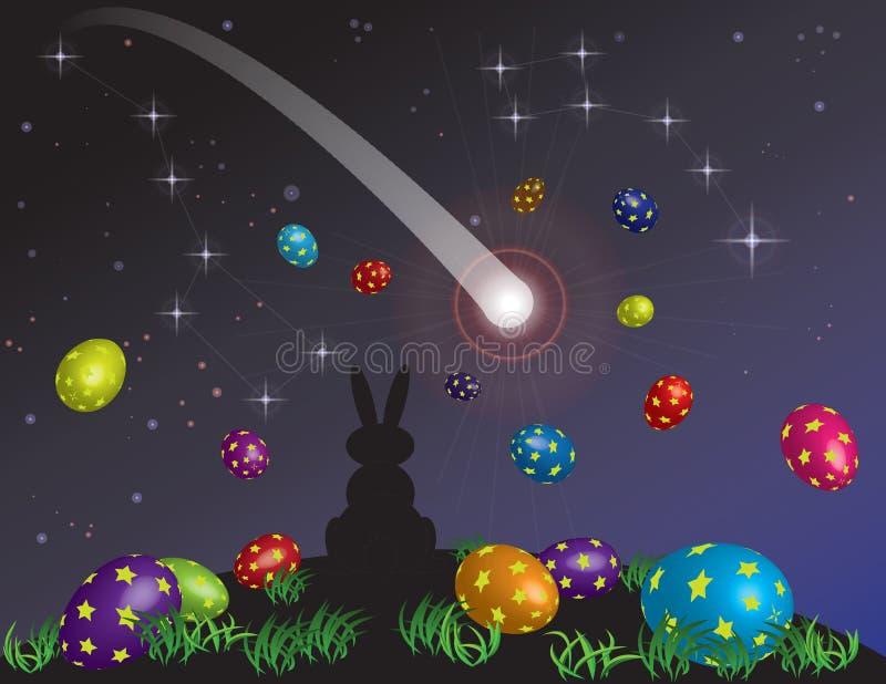 D'un petit le rêve lapin sur Pâques Ève photographie stock