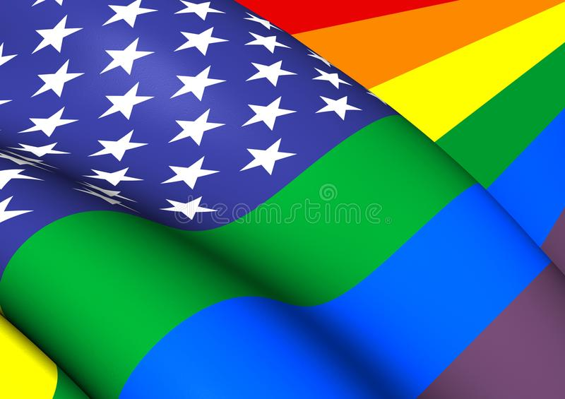 3D United States Gay flag. vector illustration