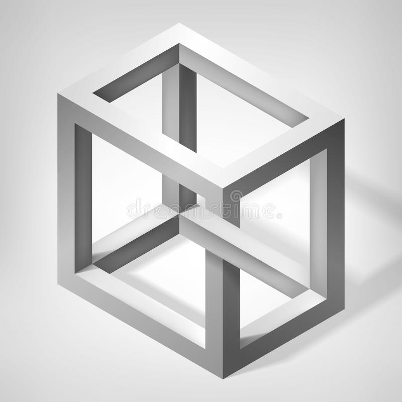 3D unreal cube shape. Illusion abstract forms. Nonexistent figure. Vector fantastic construction vector illustration