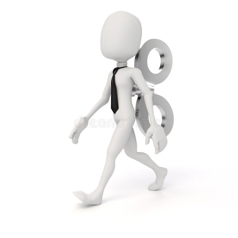3d uomo con una grande chiave sulla parte posteriore, efficienza nel concetto di affari illustrazione vettoriale