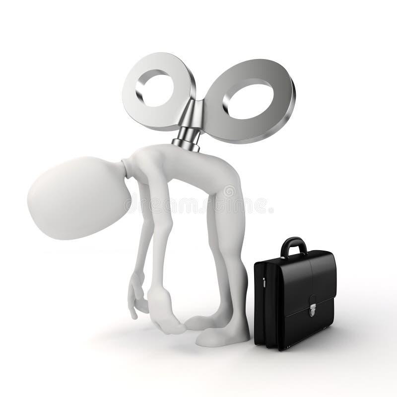3d uomo con una grande chiave sulla parte posteriore, efficienza nel concetto di affari royalty illustrazione gratis