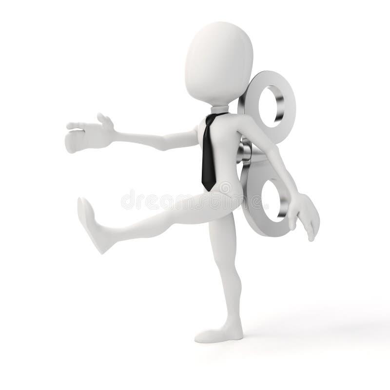 3d uomo con una grande chiave sulla parte posteriore, efficienza nel concetto di affari illustrazione di stock