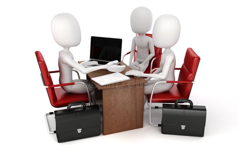 3d uomo, riunione d'affari, intervista di lavoro illustrazione di stock