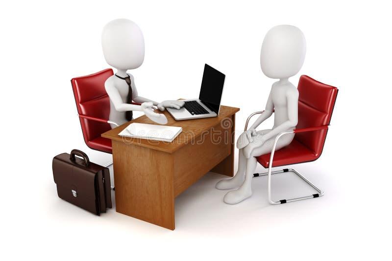 3d uomo, riunione d'affari, intervista di lavoro royalty illustrazione gratis
