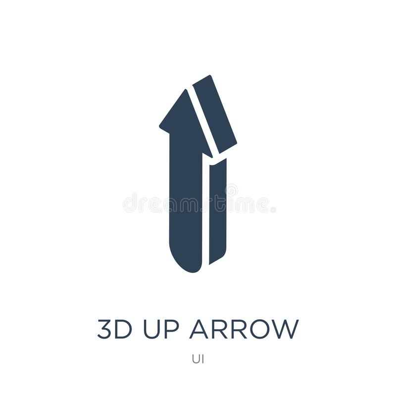 3d up arrow icon in trendy design style. 3d up arrow icon isolated on white background. 3d up arrow vector icon simple and modern. Flat symbol for web site vector illustration
