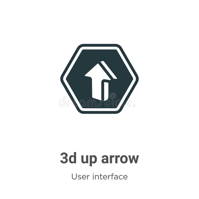 3d up arrow vector icon on white background. Flat vector 3d up arrow icon symbol sign from modern user interface collection for stock illustration