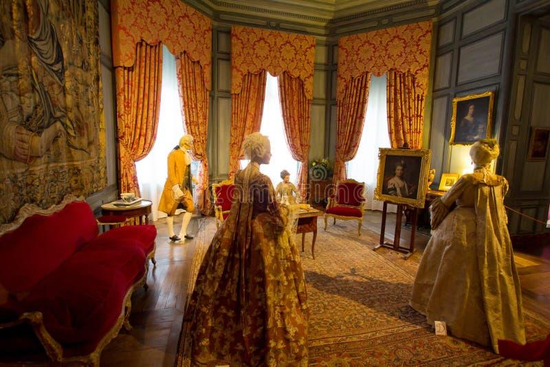 D'USSE, FRANÇA - 27 DE AGOSTO DE 2015: Castelo real do d'Usse, Loire V foto de stock