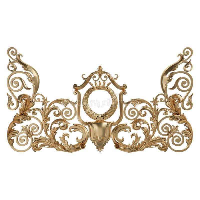 3d ustawiający antyczny złocisty ornament na białym tle ilustracja wektor
