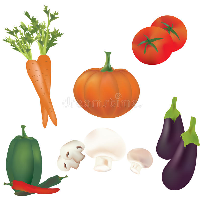 3D Ustawiający Wektorowi warzywa. Ilustracyjna kolekcja pomidory, pieprze, bania, pieczarki, marchewka royalty ilustracja