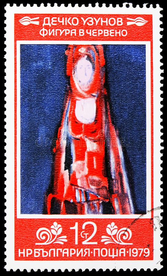 D. Uzunov, `Figure in Red`, Art serie, circa 1979. MOSCOW, RUSSIA - AUGUST 6, 2019: Postage stamp printed in Bulgaria shows D. Uzunov, `Figure in Red`, Art serie stock photography