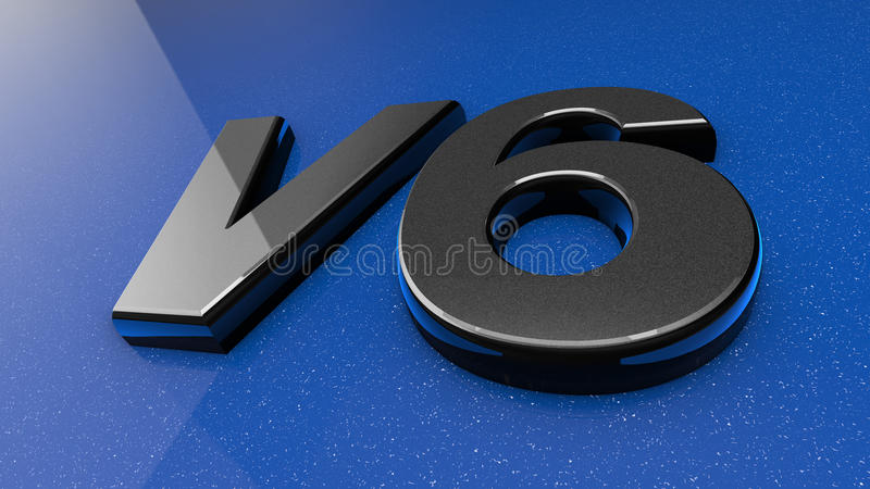 3d V6 sign. 3d illustration of a V6 badge or sign on the exterior of a blue motor car vector illustration