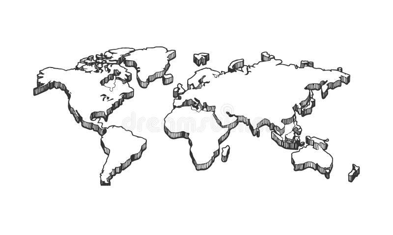 3d vacian el mapa blanco en blanco ilustración del vector
