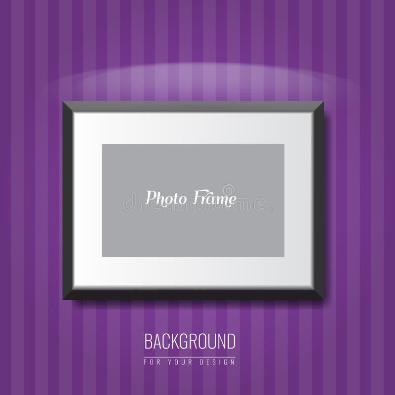 3d vacian el marco de la foto en la pared Fondo de la publicidad del vector para su disposición del anuncio stock de ilustración