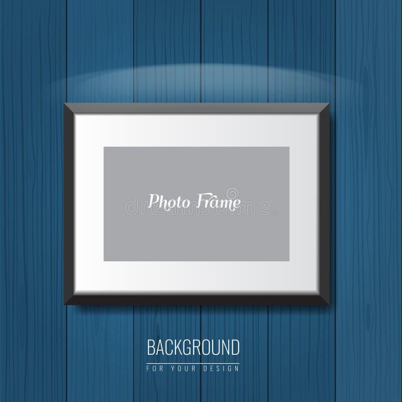 3d vacian el marco de la foto en la pared Fondo de la publicidad del vector para su disposición del anuncio libre illustration