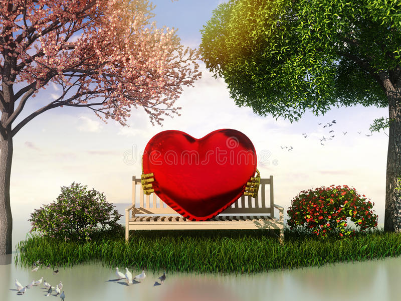3D Valentin view for love and romance. With heart shape, beautiful summer and spring trees and some birds stock illustration