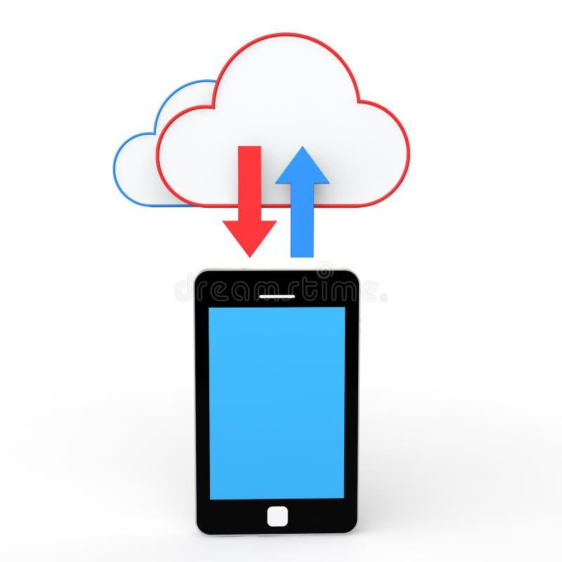 3d van de celtelefoon en wolk opslagconcept vector illustratie