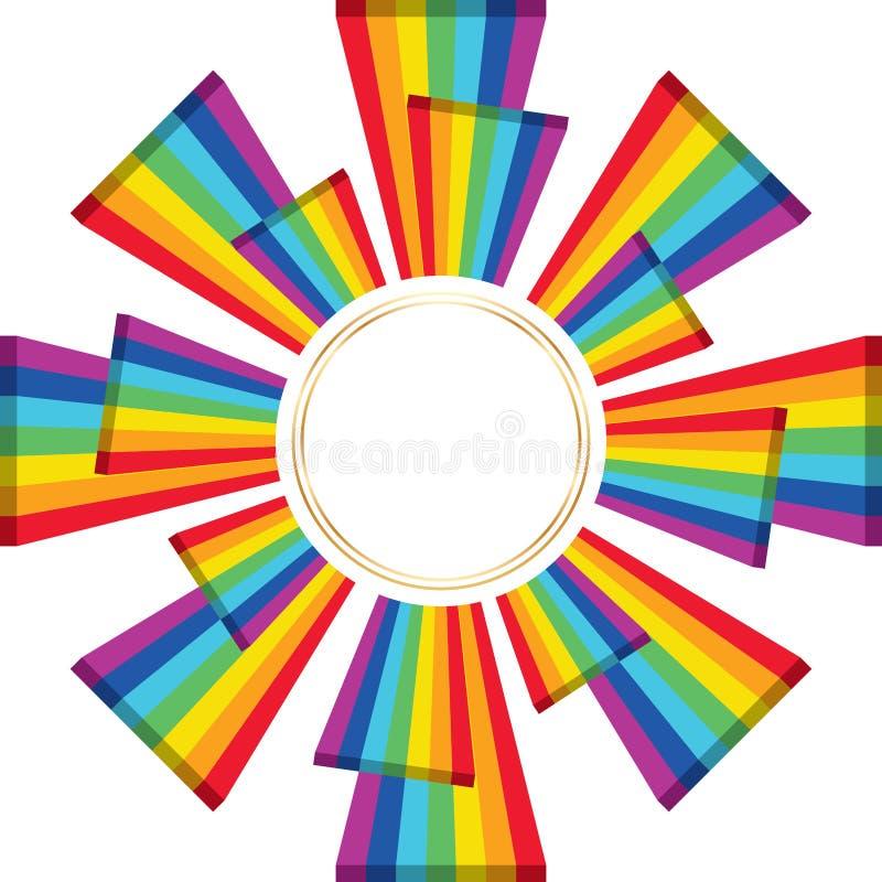 3d van de de giftdekking van de regenboogdriehoek de cirkelmalplaatje royalty-vrije illustratie