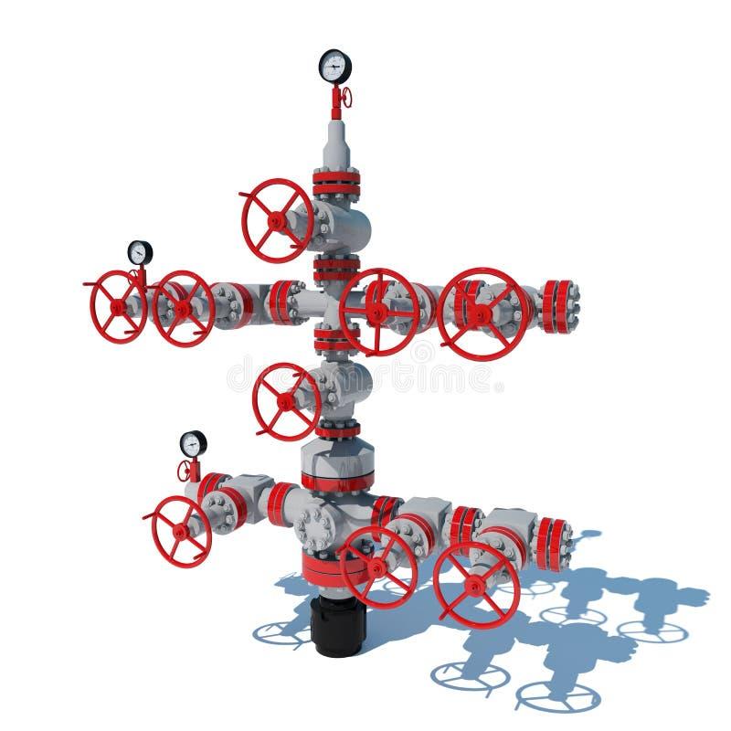 3d van de het gasmontage van de illustratiefontein het aardgasproductie Grey Red stock illustratie