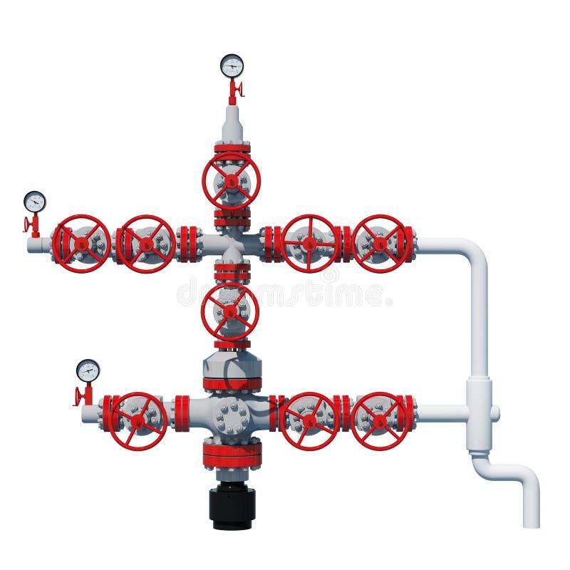 3d van de het gasmontage van de illustratiefontein het aardgasproductie Grey Red Vooraanzicht, voorgevel vector illustratie