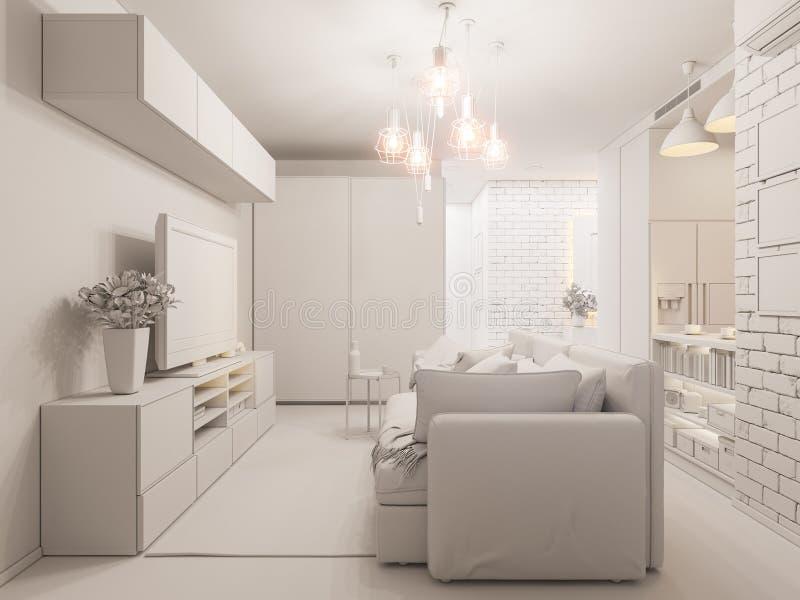 3d van de illustratiewoonkamer en keuken binnenlands ontwerp modern vector illustratie