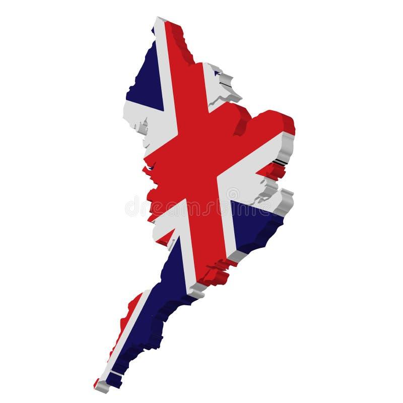 3D van de de Kaart Nationale Vlag van Engeland het Pictogram Vectorillustratie stock illustratie