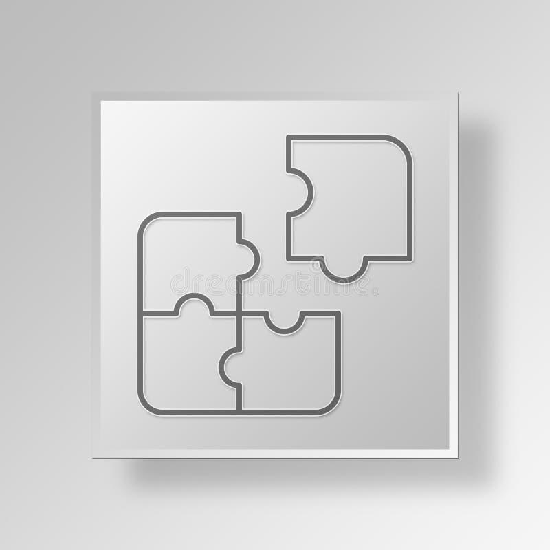 3D van het Bedrijfs raadselpictogram Concept vector illustratie
