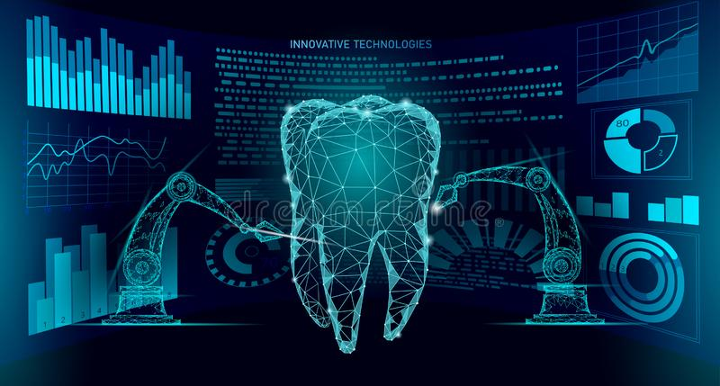 3d van het de robotwapen van de tandinnovatie veelhoekige concept Lage poly de driehoeks abstracte mondelinge tandmedische behand vector illustratie