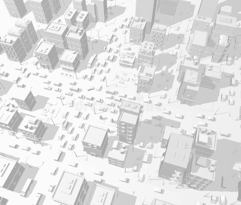 3d van stadsgebouwen straat als achtergrond in lichtgrijze tonen De opstopping van de wegkruising De hoge mening van de detailsta stock illustratie