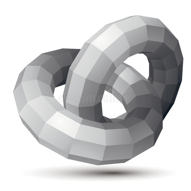 3D vector abstract design object, polygonal complicated figure,. Circles. Grayscale three-dimensional deformed shape, render stock illustration