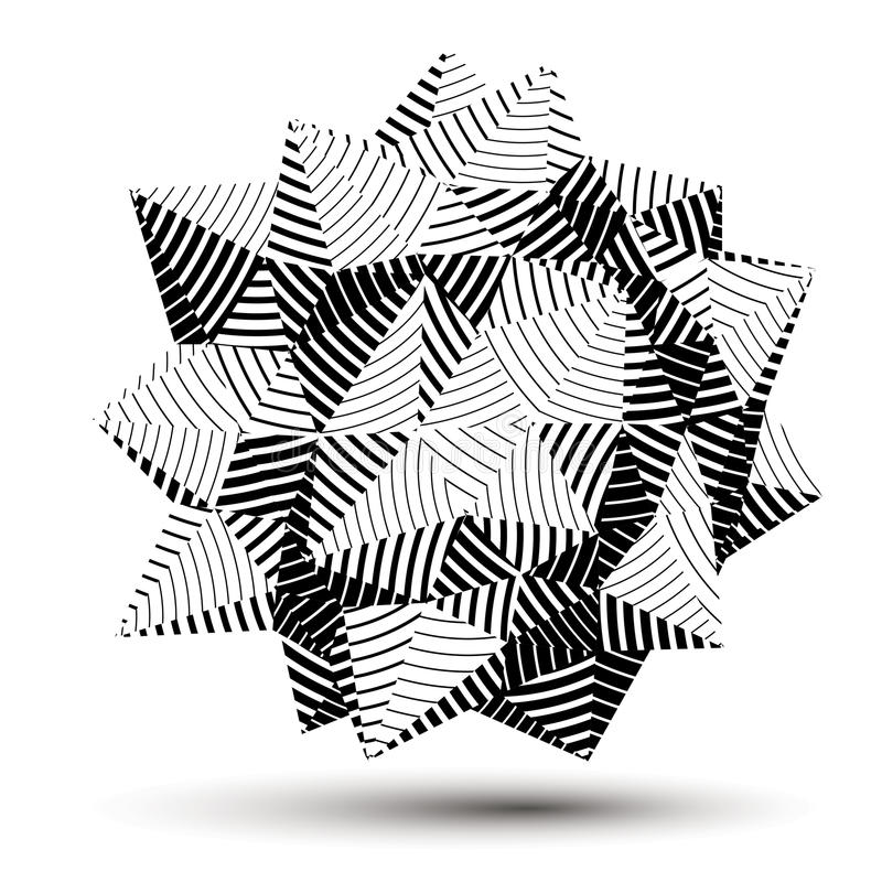 3D vector abstract design object, polygonal complicated figure. Grayscale three-dimensional deformed striped shape, render stock illustration