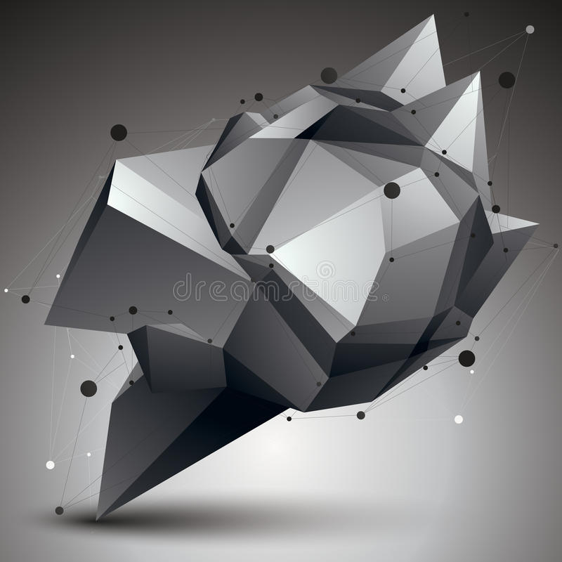 3D vector abstract design object, polygonal complicated figure w. Ith lines mesh royalty free illustration