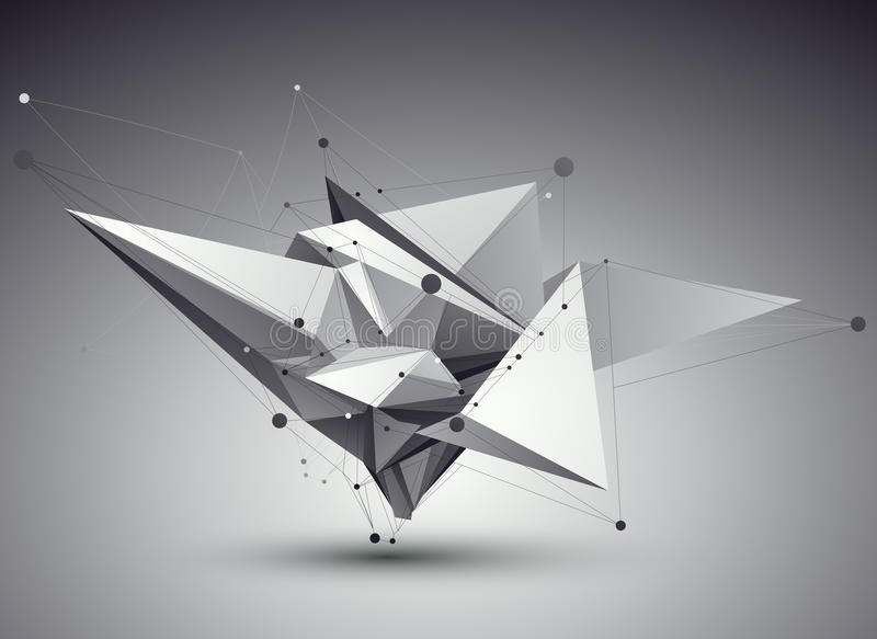 3D vector abstract tech illustration, perspective geometric unusual background with wireframe. vector illustration