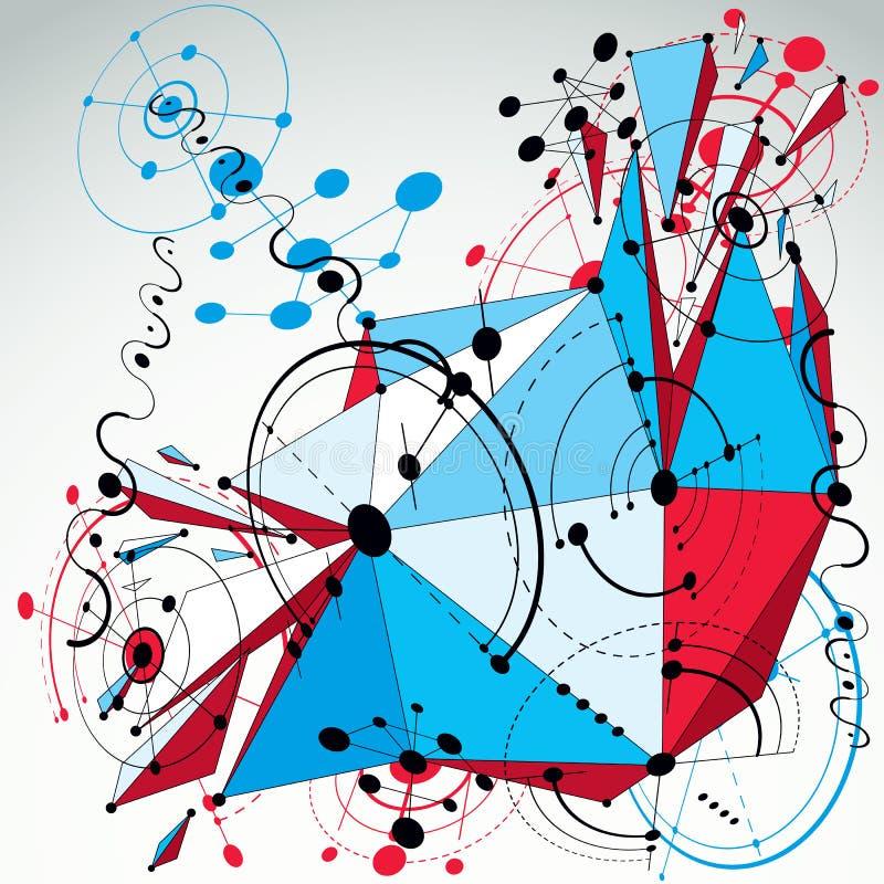 3d vector abstracte die achtergrond van Bauhaus met net wordt gemaakt en geometr royalty-vrije illustratie