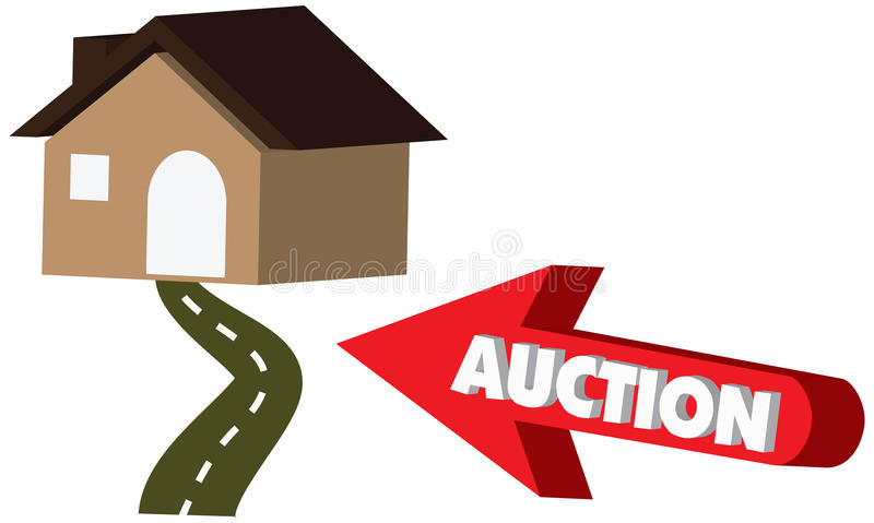 3D Vector Auction icon with a red arrow pointing to house stock photo