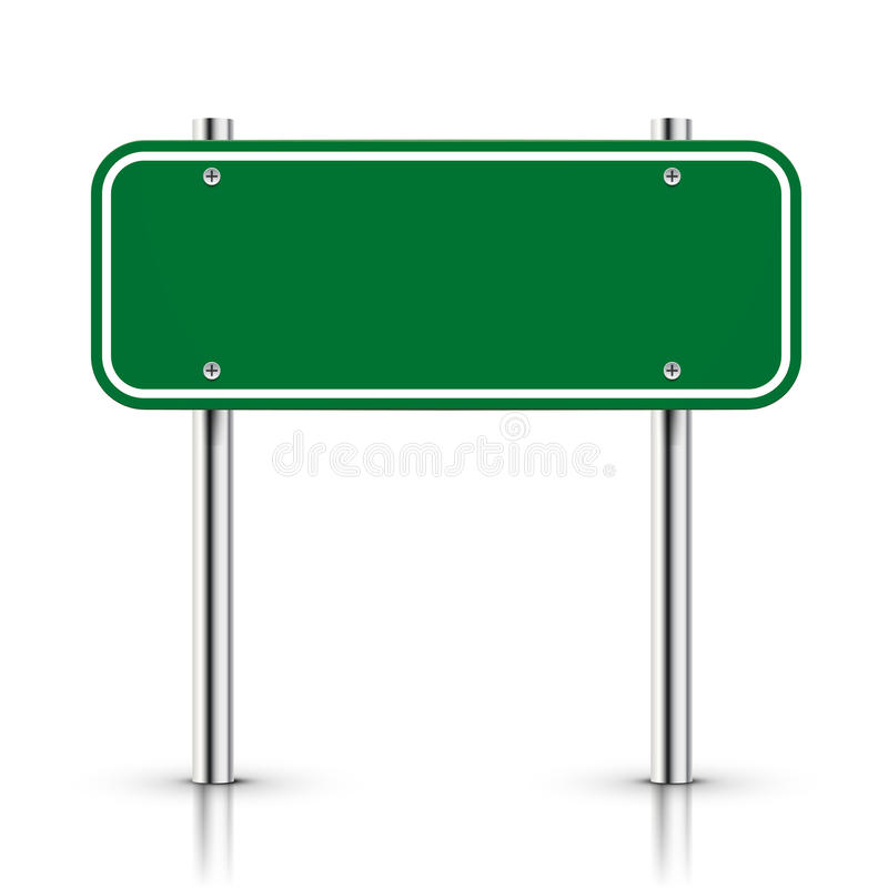 3d vector blank green traffic road sign royalty free illustration