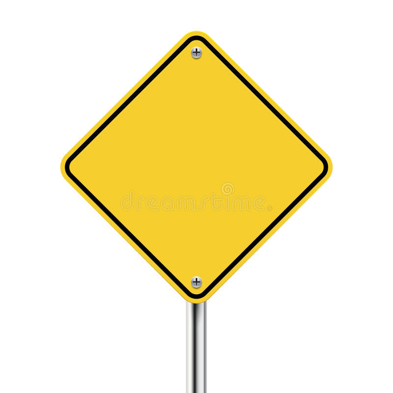 3d vector blank yellow road sign. On white stock illustration