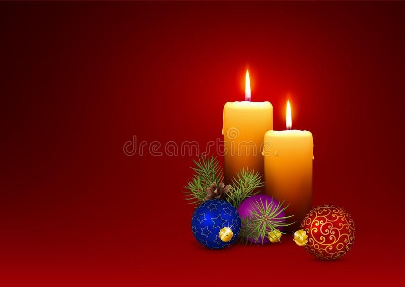 3D Vector Candlelights - Christmas Greeting Card Template with Two Candles. stock images