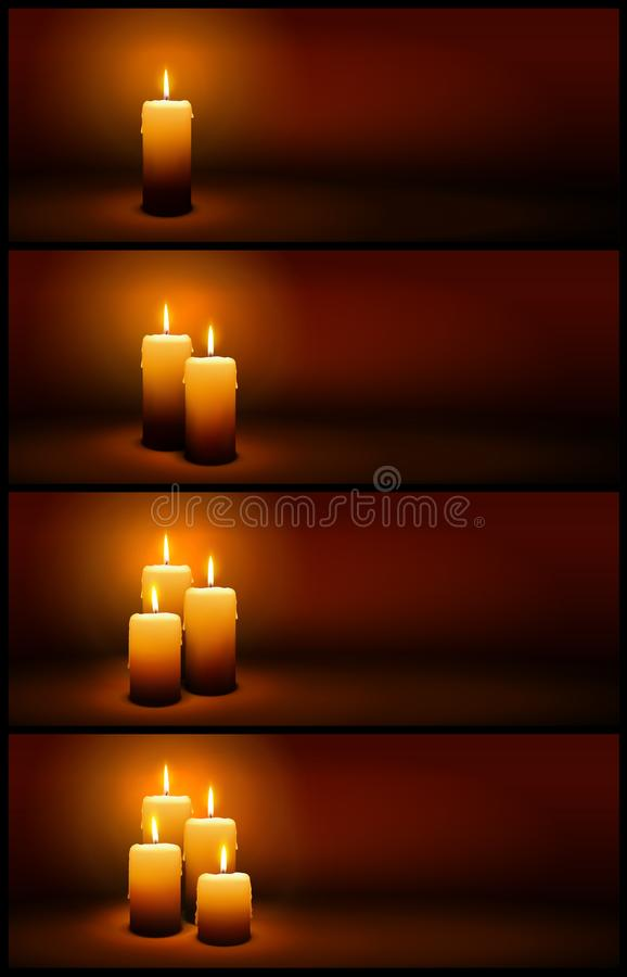 3D Vector Christmas and Advent Candles with Candlelight - Panorama Banner Templates royalty free illustration